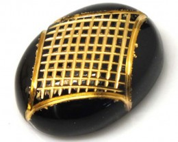 BLACK ONYX  16.4 CTS 24KGOLD ENGRAVED  LG-622