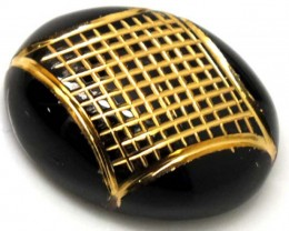 BLACK ONYX  18.15 CTS 24KGOLD ENGRAVED  LG-628