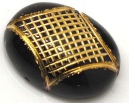 BLACK ONYX  19.6 CTS 24KGOLD ENGRAVED  LG-630