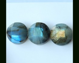 3PCS Faceted Labradorite Gemstone Cabochons ,16x9 MM