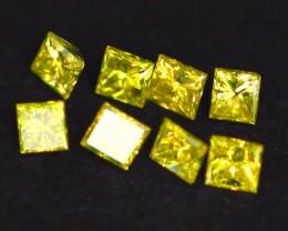 0.50Ct PRINCESS Cut 8pcs Natural Beautiful Yellow Diamond Lot