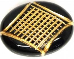 BLACK ONYX 15.75 CTS 24KGOLD ENGRAVED  LG-711