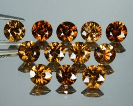 14.37 Cts Natural Imperial Brown Zircon 6mm Round Cut 12 Pcs Parcel