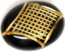 BLACK ONYX 14.60 CTS 24KGOLD ENGRAVED  LG-728
