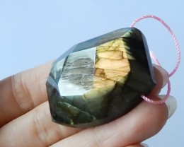 Faceted Labradorite Pendant Bead , 32x38x12 MM