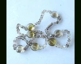 Freeform Smoky Quartz ,Yellow Quartz Bead Necklace ,48cm