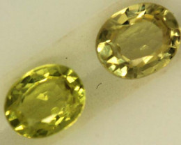 0.75 CTS LOVELY GREENISH YELLOW CHRYSOBERYL PAIR VVS SP86