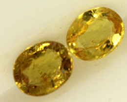 0.6 CTS LOVELY GREENISH YELLOW CHRYSOBERYL PAIR VVS SP87
