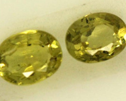 0.5 CTS LOVELY GREENISH YELLOW CHRYSOBERYL PAIR VVS SP89