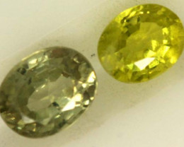 0.7 CTS LOVELY GREENISH YELLOW CHRYSOBERYL PAIR VVS SP91