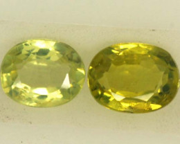 0.45 CTS LOVELY GREENISH YELLOW CHRYSOBERYL PAIR VVS SP92