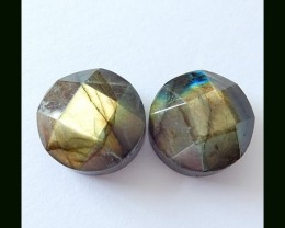 Faceted Labradorite Cabochon Pair, 16x9 MM