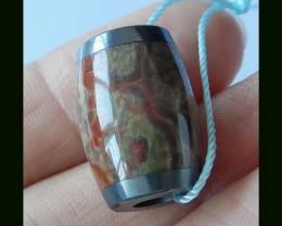 Pyrite,Mushroom Jasper Intarsia Bead, 19x13 MM(B1804320)