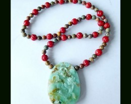 Special Chrysocolla Carving,Bamboo Coral ,Jasper Beads String Together Pend