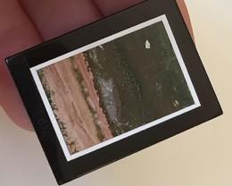 INLAID GEMSTONE MINIATURE PICTURE - DRILLED - STONE ARTWORK NR