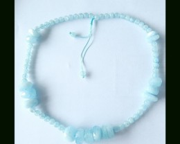 Blue Aquamarine Freeform,Round Beads Necklace,Handwoven Necklace,44cm