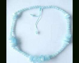 Blue Aquamarine Freeform,Round Beads Necklace,Handwoven Necklace,44cm