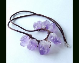Nugget Amethyst Cluster Beads Necklace,Handwoven Cord Necklace