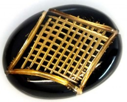 BLACK ONYX 15.10 CTS 24KGOLD ENGRAVED  LG-843