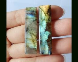 Natural Labradorite Gemstone Pair , 40x10x4 MM