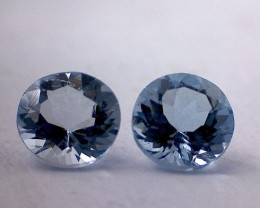 1.00ct Brilliant Cut Pair Aqua Blue Aquamarine, VVS THM2H