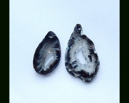 New Design Agate Nugget Earring Pair ,36x21x3 MM