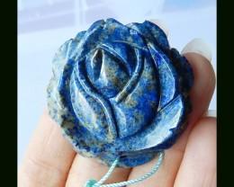 Lapis lazuli Big Flower Carving Pendant Bead,39x9 MM