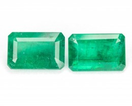 3.12CT MATCHING PAIR FINE QUALITY NATURAL EMERALD W/ RICH GREEN COLOR