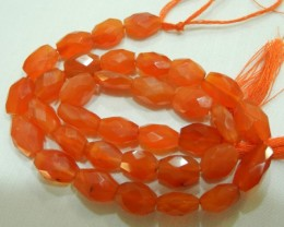 A GRADE CARNELIAN FACETED OVAL BEAD STRAND-BEAUTIFUL!!