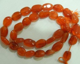 BBB GRADE CARNELIAN FLAT OVAL BEAD STRAND-BEAUTIFUL!!