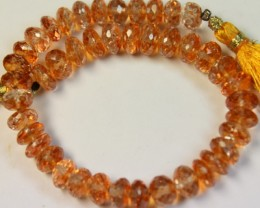 128.3 CTS NATURAL STRANDS TOPAZ POLISHED BEADS P960
