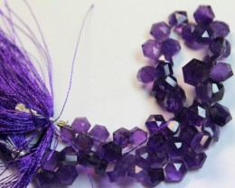 120 CTS ONE NATURAL STRAND OF AMETHYST POLISHED BEADS P975