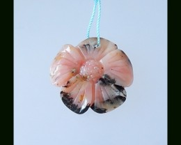 Flower Carved Pink Opal Bead,29x5 MM