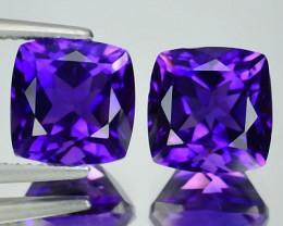 7.73 Cts Natural Purple Amethyst 9mm Cushion Cut Pair