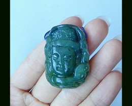 Jade Kindness Buddha Carving Pendant Bead,39x27x12 MM
