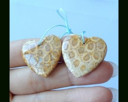 Indonesian Coral Heart Shape Earring Bead,24x25x5 MM