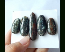 5PCS Natural Green Kyanite Cabochons