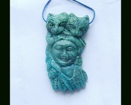 Vintage Handcraft ,Chrysocolla Beauty And The Bears Carving Pendant Bead,Ha