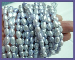 2 X SILVER BLUE 8X9.00MM FRESHWATER BAROQUE PEARL STRANDS