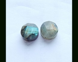 27.35 Cts Faceted Labradorite Cabochon Pair