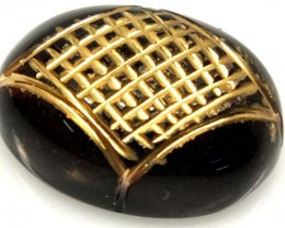 BLACK ONYX 14 CTS 24KGOLD ENGRAVED  LG-927