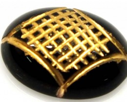 BLACK ONYX 7.05 CTS 24KGOLD ENGRAVED  LG-939