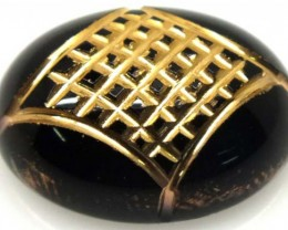 BLACK ONYX 9.40 CTS 24KGOLD ENGRAVED  LG-940