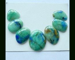 7 Pcs  Natural Chrysocolla Cabochon Set