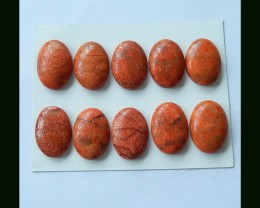 10PCS  Orange Coral Oval Cabochons Set