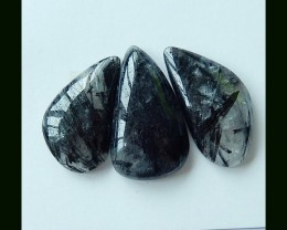 154.1Ct 3 Pcs New Arrival Black Rultilated Quartz Cabochons