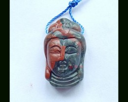 Natural African Bloodstone Buddha Carving,28x16x4 MM