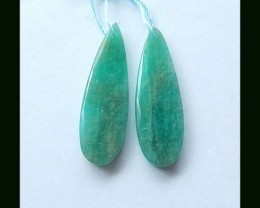 35.8 Cts Long Teardrop Amazonite Earring Bead