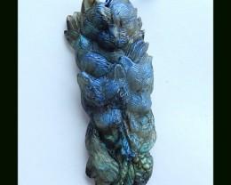 Handmade Carving Labradorite Bear Pendant Bead,80x35x13 MM