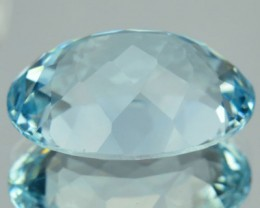 15.00 Cts Unheated Natural Topaz Sky Blue Oval Faceted NR